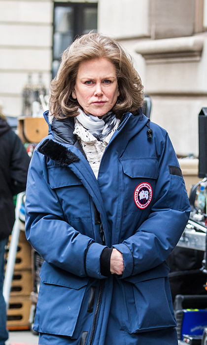 Keeping the chill at bay in her Canada Goose coat, Nicole Kidman was barely recognizable on the set of her upcoming film <i>The Goldfinch</i> in New York City on March 9.