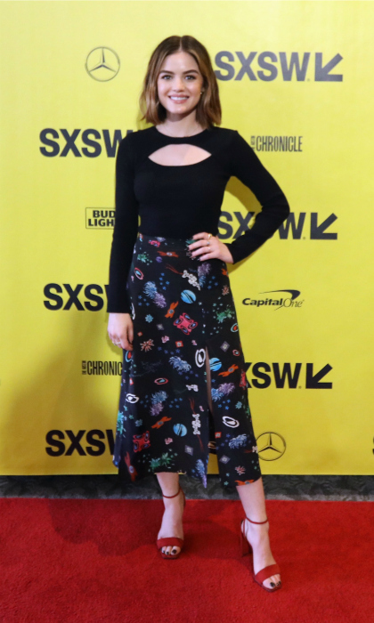 Lucy Hale looked out of this world while rocking a space skirt on the carpet to the premiere of <i>The Unicorn</i> on March 10. 