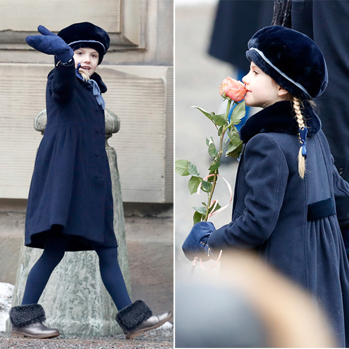 Princess Estelle, who is big sister to two-year-old Prince Oscar, has mastered the royal wave and also seemed to enjoy smelling a gorgeous flower that her mom received from a well-wisher in the crowd.