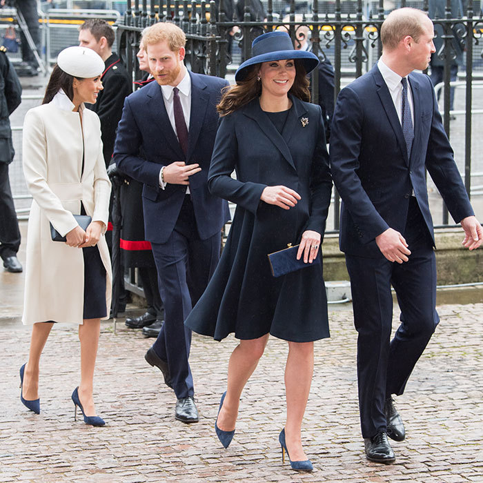 Kate completed the look with a a Jimmy Choo Celeste clutch and blue suede shoes that were nearly identical to those of her future sister-in-law Meghan Markle, far left.