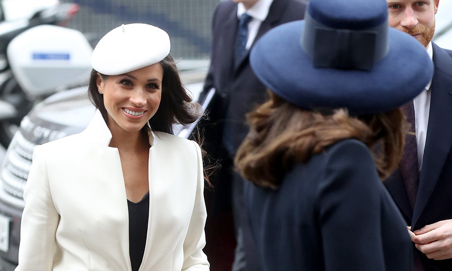 Meghan Markle, who will marry Prince Harry in May, seemed relaxed and radiant for her first official event with the monarch.
