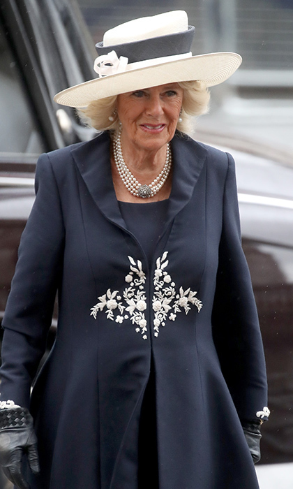 Like Meghan and Duchess Kate, the Duchess of Cornwall also opted for navy blue for the special outing at Westminster Abbey.