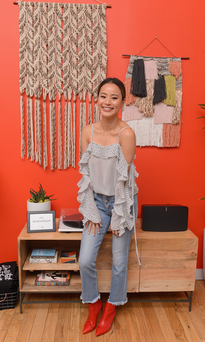 Was it planned? Jamie Chung's booties matched the colorful wall at the WeWork Congress. The actress was in town promoting <i>1985</i>.