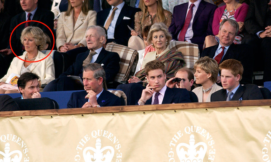 In 2002 it became evident the pair were ready to move further into the spotlight, when Camilla and Charles were spotted holding hands. Camilla also began joining the royals – including Queen Elizabeth II and Camilla's soon to be stepsons, William and Harry – at public engagements. Here Camilla sits behind Charles and the young Princes at 2002's Party at the Palace concert in honor of the Queen's Golden Jubilee.