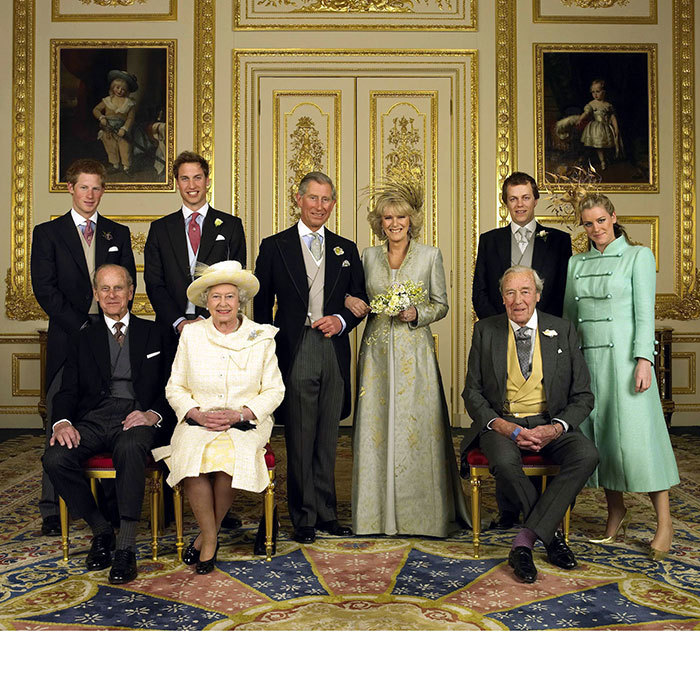 "A wedding blessing at St George's Church followed. Here is a family photo after the ceremony, featuring the royals – Queen Elizabeth and Prince Philip, front left, and Princess William and Harry, back left – and Camilla's children, Tom Parker Bowles and <a href=""https://us.hellomagazine.com/lifestyle/12018020825860/laura-parker-bowles-harry-lopes-wedding/""><strong>Laura Parker Bowles</strong></a>, now Laura Lopes, back right, and father, Bruce Shand, seated.