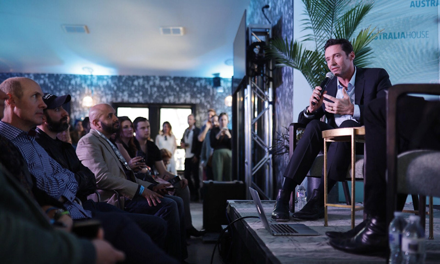 G'day Hugh! Hugh Jackman may have been thousands of miles from Sydney, but the actor was able to taste some of the delicacies from his native country and chat philanthropy at the G'Day USA Australia House in Austin.
