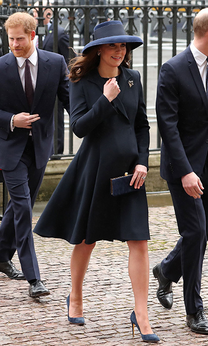 On March 12 pregnant Duchess Kate was elegant in a navy blue coat and dress by luxury label Beulah London as she arrived at Westminster Abbey with Prince William, Prince Harry and Harry's fiancée Meghan Markle.