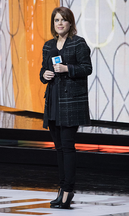 Princess Eugenie wore a Princess Diana-style tartan blazer and some funky booties at the We Day UK event held at Wembley Arena in London.