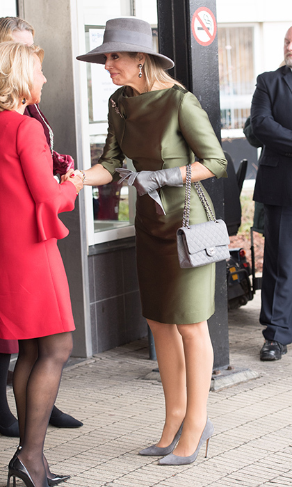 Dutch Queen Maxima was perfectly coordinated in green and grey at the Expertise Center for Endometriosis in Balance at HMC Bronovo Hospital in The Hague.