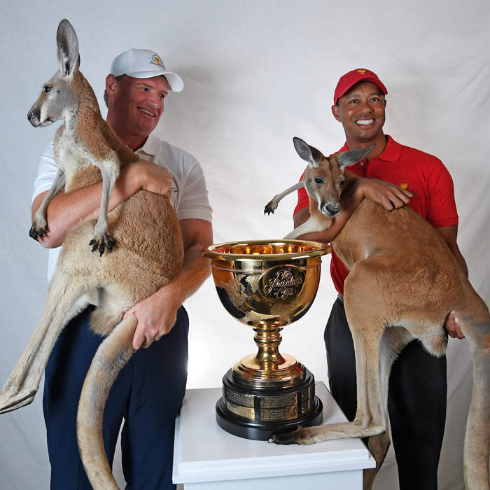 Tiger Woods & Ernie Els had two very special guests during the press conference announcing they will be the captains of the the U.S. and International teams during the 2019 Presidents Cup Captains in Melbourne, Australia.