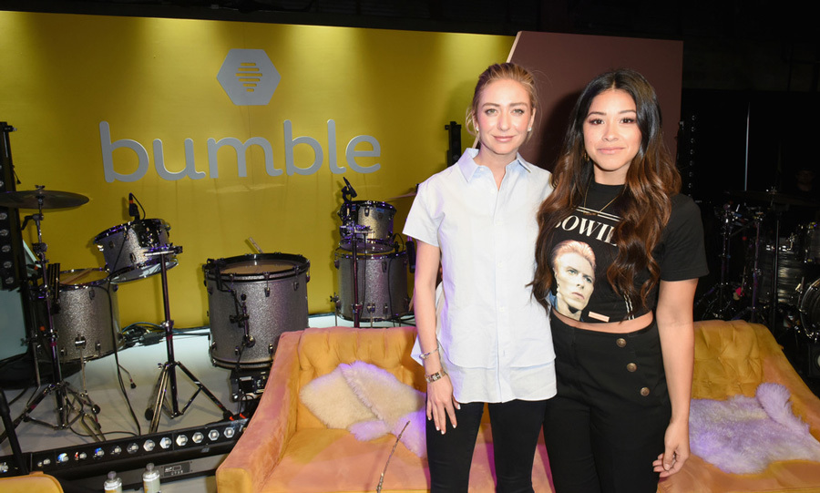 Gina Rodriguez, in a David Bowie t-shirt, joined Bumble founder Whitney Wolfe Herd during the company's Empowering Connections chat in Austin. Though Gina admitted she can't use the dating app to find a man since she is in a relationship, she could use it to find meaningful connections in business.