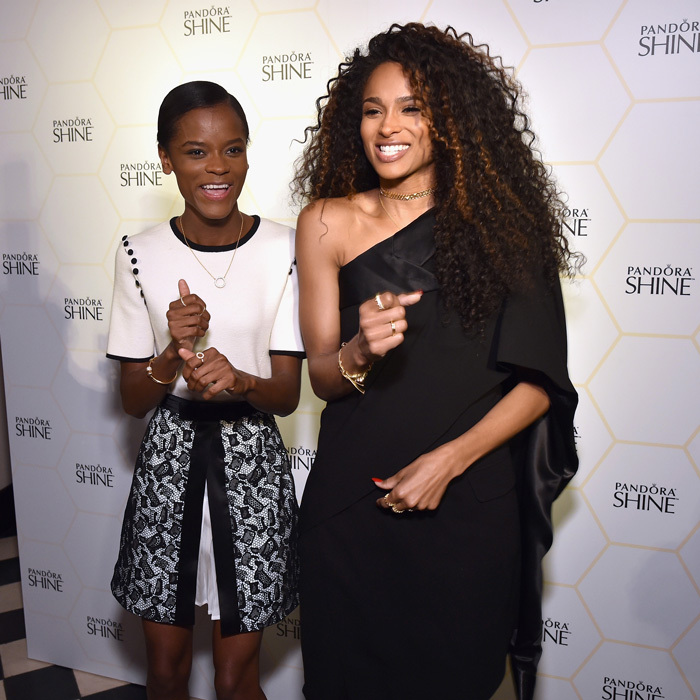 Pandora's newest brand ambassador Ciara danced her way down the carpet with <i>Black Panther</i> star Letitia Wright during the Shine Collection Launch on March 14 in NYC.