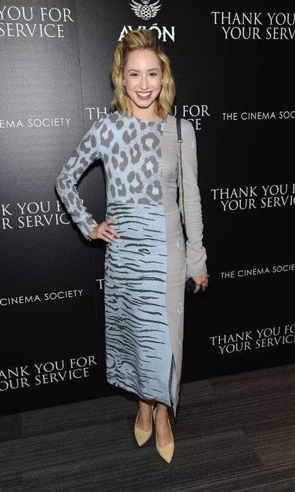 Princess Grace's granddaughter wore an animal print dress to the <i>Thank You for Your Service</i> NYC screening in October 2017. 