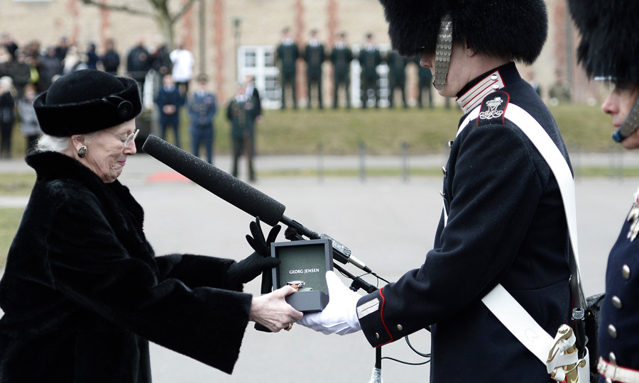 "Queen Margrethe of Denmark made her first public appearance since the death of her husband Prince Henrik, who passed away on February 13. Her Majesty attended a military parade on March 14 at the Rosenborg Barracks in Copenhagen and passed out the ""Queens Watch Award"" to guard Jens Jakob Leegaard Nikolajsen. The award was established in 1969 and is given to the best guard of the service period chosen by his fellow Royal Life guards. 
