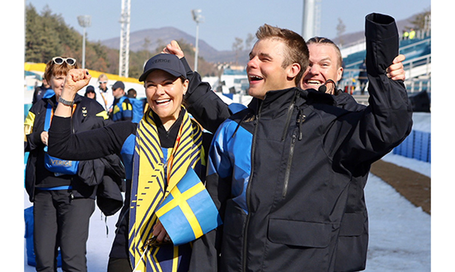 Crown Princess Victoria of Sweden congratulated cross-country skier Zebastian Modin after winning a silver medal at the Paralympic Winter Games.