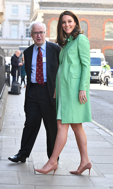 The day before, on Wednesday March 21, Kate looked fresh and glowing as she attended an event in central London which was held at the Royal Society of Medicine. Prince William's wife braved the cold conditions in a stunning mint green coat and nude high heel court shoes by Jimmy Choo. The Duchess – who is due to give birth in April – had her rich brunette curls coiffed to perfection and wore her makeup in a typically flawless style – she sported natural eye make-up with a smattering of pinky nude lipstick and her cheeks looked delicately flushed.