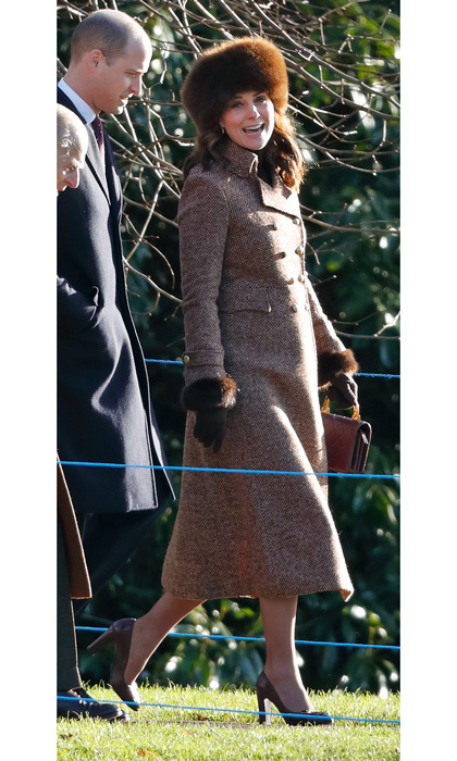 "Kate attended Sunday service at St. Mary Magdalene Church in Sandringham on January 7. Prince William's wife recycled her Moloh ""Turpin"" coat and her Russian style fur hat for the occasion. The Duchess accessorized her winter look with her Tod's pumps, Cornelia James gloves and her quilted burgundy Chanel bag. 