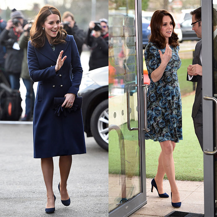 One day after turning 36, the Duchess of Cambridge carried out her first engagement of 2018 on January 10 visiting the Reach Academy in Feltham — a school that works in partnership with Place2Be and other organizations that support children, family and the whole school community. Kate looked perfectly polished for the outing wearing a French navy wool coat by Hobbs London, which she paired with her Seraphine Florrie Dress — the expectant royal wore the blue frock back in 2015 while pregnant with daughter Princess Charlotte. 
