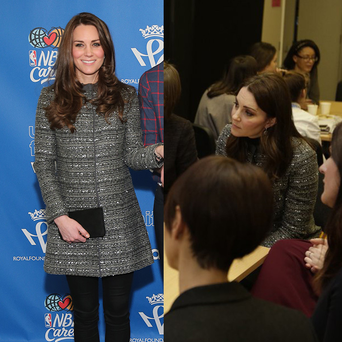 "Kate Middleton made a surprise appearance at the Anna Freud National Centre for Children and Families' ""Conference on Improving Young People's Mental Resilience and Wellbeing"" on January 11. The Duchess, who is a patron of the Anna Freud Centre, recycled her chic Tory Burch ""Bettina"" coat — which she debuted in 2014 during her trip to New York — for the occasion. 