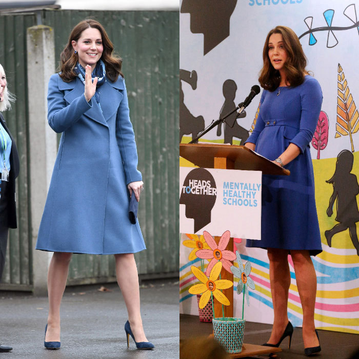 "The Duke of Cambridge's wife looked anything but blue as she stepped out on January 23 to launch Heads Together's ""Mentally Healthy Schools"" online resource at Roe Green Junior School. Kate looked smart recycling her Sportsmax coat over a tailored dress by Seraphine. During the outing, the expectant royal delivered a speech saying, ""I see time and time again that there is so much to be gained from talking of mental health and taking the mental health of our children as seriously as we do their physical health. When we intervene early in life, we help avoid problems that are much more challenging to address in adulthood.""