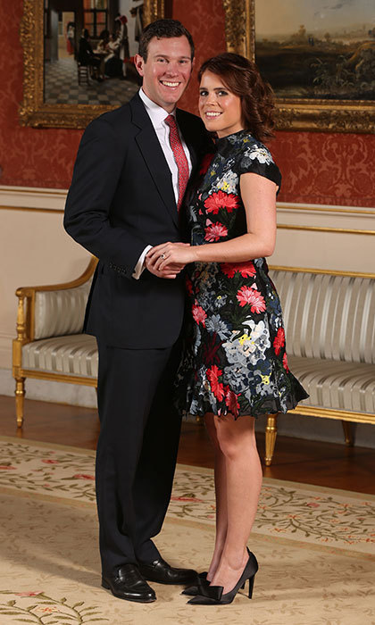 In January 2018, it was announced that Princess Eugenie would be marrying her longtime love Jack Brooksbank. For her official engagement photos, Princess Eugenie wore a floral dress by Erdem and shoes by Jimmy Choo.