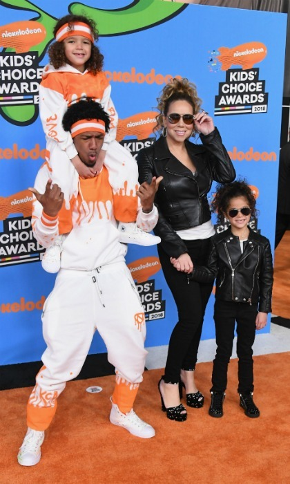 Once again, Nick Cannon and Mariah Carey brought their children, Moroccan and Monroe, to Nickelodeon's Kids' Choice Awards. The foursome were all smiles as they walked the carpet in matching sets of outfits at the Forum on March 24, 2018 in Inglewood. 