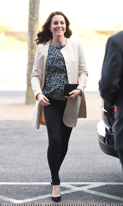 It's almost time! Kate made one of her final maternity looks a simple one as she stepped out for her last official engagement at SportsAid on March 22, ahead of her maternity leave. The Duchess mixed old and new pieces: a cream coat by GOAT paired with the Roise top by Hobbs London. Keeping her look comfy and chic, Kate opted to finish it all off with black denim.