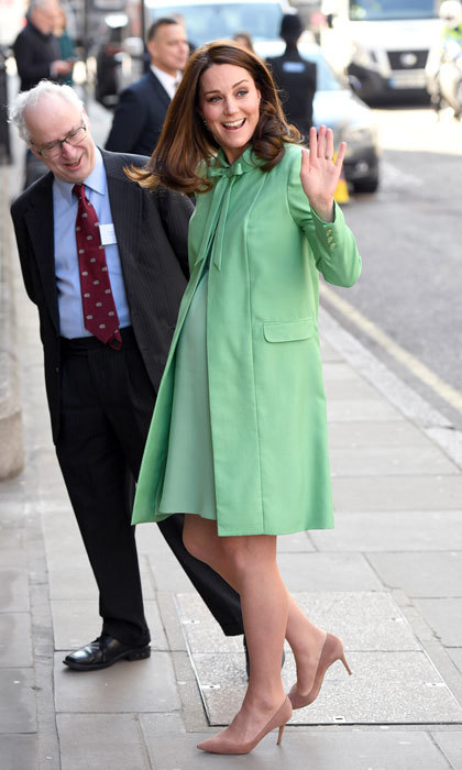Kate was ready for spring in a mint green coat dress by her go-to designer Jenny Packham for her attendance at the early intervention for children and families symposium on March 21.