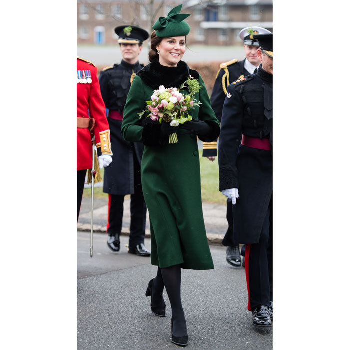 Green was the theme on St. Patrick's Day when Kate appeared with William at the Irish Guards parade with Prince William. The Duchess broke out her Catherine Walker coat, which she wore weeks earlier during her visit to Sweden.