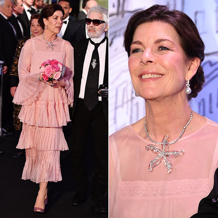 Royal matriarch Princess Caroline, joined by her good friend Karl Lagerfeld, wore a pretty pink lace haute couture creation by the Chanel designer. The Princess of Hanover added a statement starfish necklace and pearl earrings to finish off the pretty spring look.