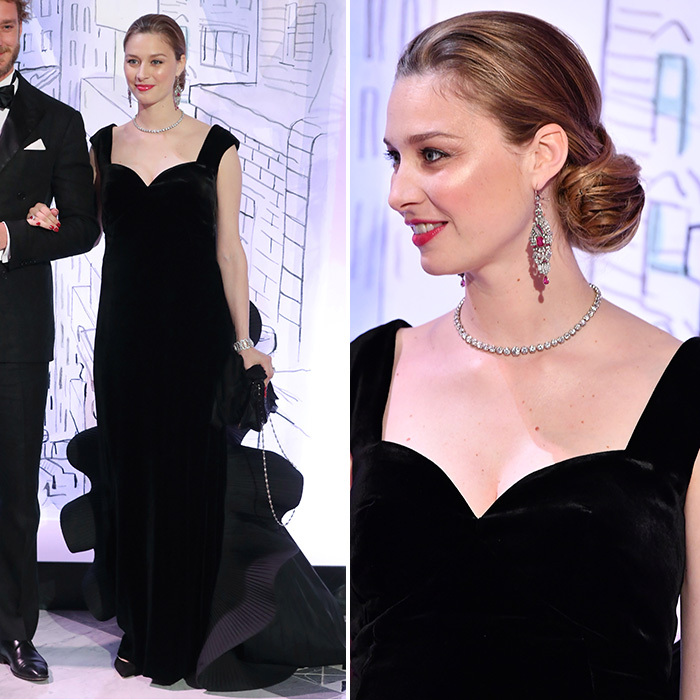 Beatrice Borromeo kept it simple in black velvet Alberta Ferretti with a sculpted train, and channeled Grace Kelly with her gorgeous chignon. Princess Caroline's daughter-in-law added some sparkle with diamond and ruby earrings and a single-strand diamond necklace.