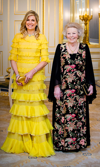 Queen Maxima of the Netherlands was looking cheery in yellow as she joined her mother-in-law Princess Beatrix at the official dinner for the King and Queen of Jordan at Palace Noordeinde on March 20.