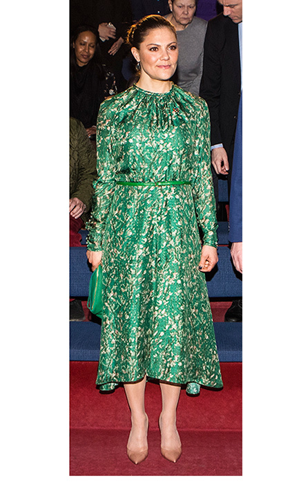"Crown Princess Victoria of Sweden attended the ""A Conversation About Water"" meeting hosted by WaterAid in Stockholm wearing an environmentally friendly dress. The green long-sleeved look is from H&M's Conscious Collection. 