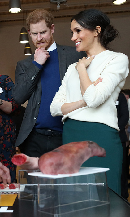 As fiancée Meghan Markle chatted, Prince Harry hilariously reacted to a display of prosthetic props made by the Titanic FX company during a visit to Catalyst Inc science park in Belfast, Northern Ireland. 