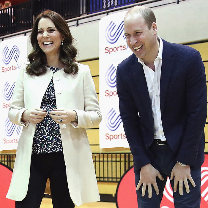 During Kate Middleton's last public appearance before heading off on maternity leave, the Duchess and husband Prince William shared a hearty laugh while attending the SportsAid event together on March 22.