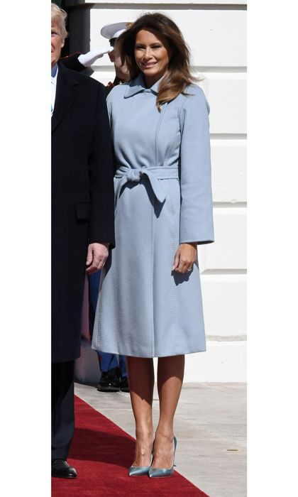 "The first lady sported a baby blue Max Mara coat to welcome Israeli Prime Minister Benjamin Netanyahu and his wife Sara Netanyahu to the White House on March 5. After the visit, Melania tweeted, ""Great visit with Prime Minister Benjamin & Mrs. Netanyahu!  Enjoyed hosting Sarah Netanyahu for lunch to discuss how we can make a better and safer world for children.""