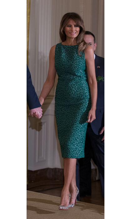 The stylish first lady joined in on the St. Patrick's Day festivities wearing a green sheath dress by Brandon Maxwell to welcome Irish Prime Minister Leo Varadkar to the White House on March 17.