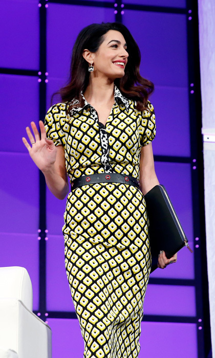 Eight months after welcoming twins Ella and Alexander with George, Amal stepped out looking sleek in a patterned dress to the Watermark Conference for Women 2018 in San Jose, California on February 23.