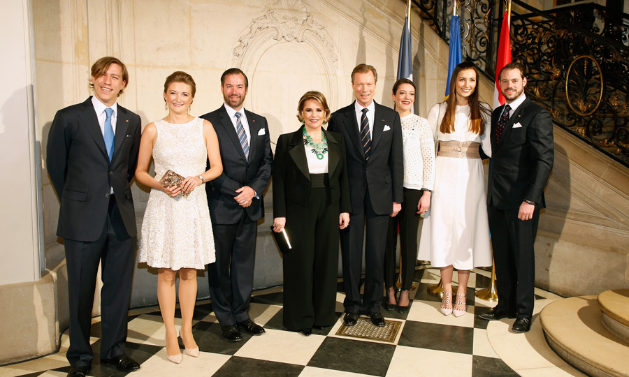 It was a family affair for the Luxembourg royals! Prince Louis, Hereditary Grand Duchess Stephanie, Hereditary Grand Duke Guillaume, Grand Duchess Maria Teresa, Grand Duke Henri, Princess Alexandra, Princess Claire and Prince Felix looked sharp for a reception hosted by Grand Duke Henri at Paris' Rodin Museum during the royals' state visit to France.