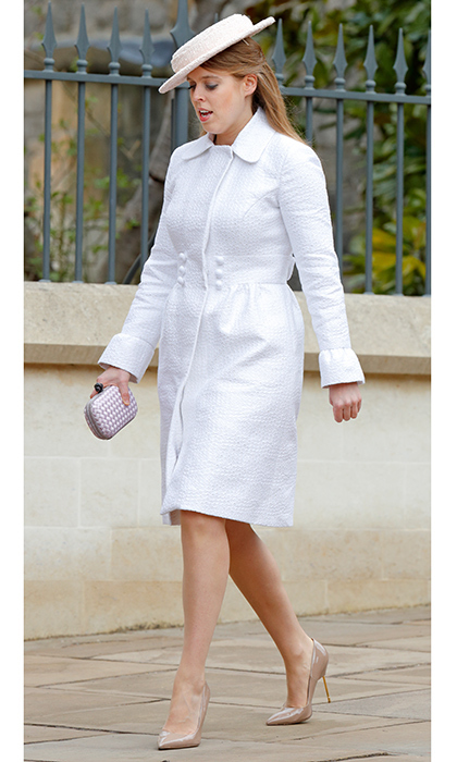 Princess Beatrice looked chic in a white tailored coat dress, box clutch and nude stiletto shoes.