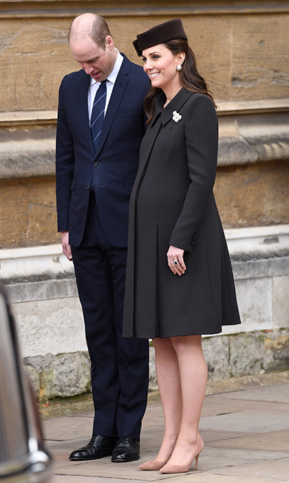 Duchess Kate, with husband Prince William at her side, joined the British royal family for their annual Easter outing at St George's Chapel on April 1 in Windsor, England. The pregnant royal, who is officially on maternity leave, opted for a Lock and Company hat and a chocolate Catherine Walker coat that she had worn while pregnant with Princess Charlotte on St Patrick's Day in 2015.