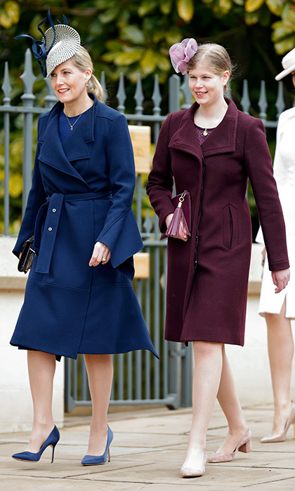 Sophie Wessex walked alongside her daughter Lady Louise Windsor, who at 14 is just getting used to wearing high heels! The two royals were in step in, respectively, navy blue and burgundy coats.
