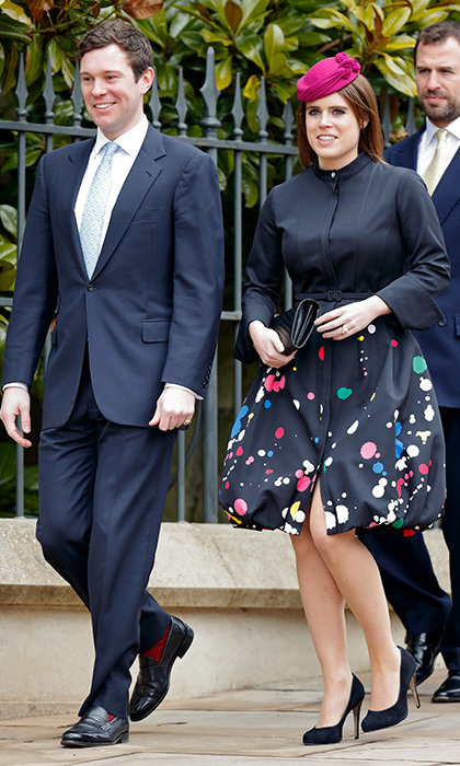 Future royal bride Princess Eugenie looked cheery in a paint-splatter Oscar de la Renta dress and fuchsia  Juliette Boterill Millinery hat as she arrived with her fiancé Jack Brooksbank.