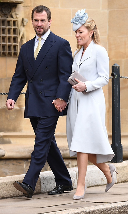 Joined by her husband, the Queen's grandson Peter Phillips, Canadian-born Autumn Phillips donned head to toe pale grey and pastel blue hues.