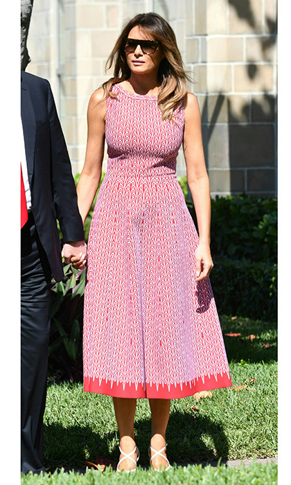 On Easter Sunday, Melania wore a fit and flare print dress by Azzedine Alaïa and strappy Christian Louboutin heels as she attended a service at Church of Bethesda-by-the-Sea in Palm Beach, Florida.
