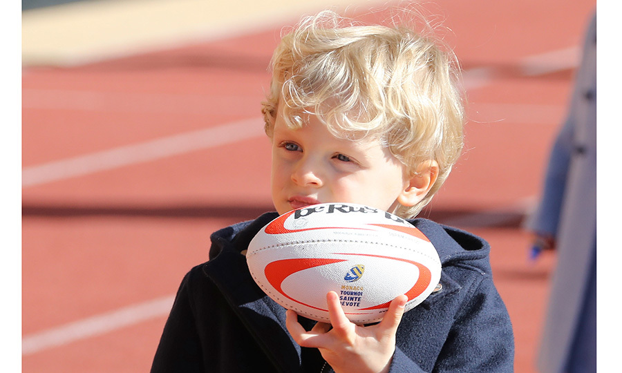 Prince Albert of Monaco's son and heir, Prince Jacques, played with a rugby ball while attending the International Rugby tournament Tournoi Sainte Devote at the Louis II Stadium in Monaco.
