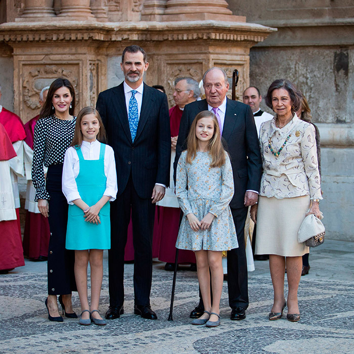 On Easter Sunday, not long after a somewhat tense family exchange between Queen Letizia, left, and her mother-in-law Queen Sofia, right, was captured on a now-viral video, the Spanish royals gathered for a rather more cheerful Easter portrait outside in Madrid.