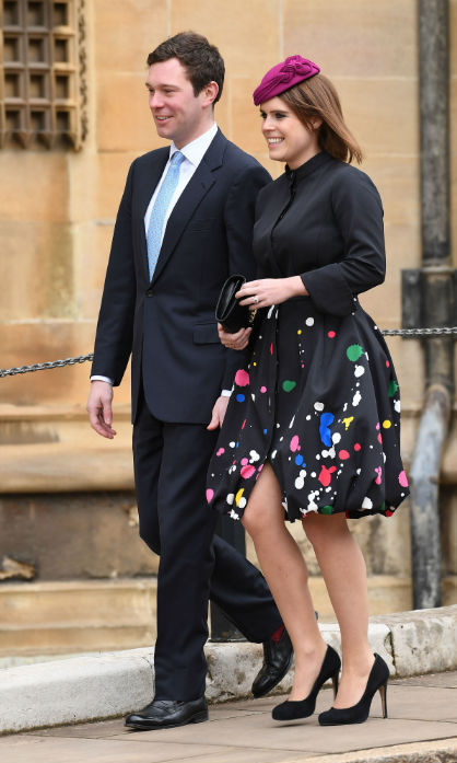 While Prince Harry and Meghan Markle were no-shows, fellow future bride and groom Princess Eugenie and Jack Brooksbank headed to church services with the British royals. 
