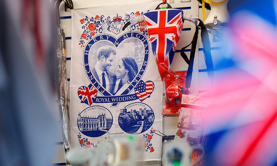 With Prince Harry and Meghan Markle's royal wedding set to take place next month, the souvenir market in Windsor is heating up! Here is a sample of the romantic – and patriotic! – wares at a gift shop in the town where the wedding will take place at St George's Chapel on May 19.