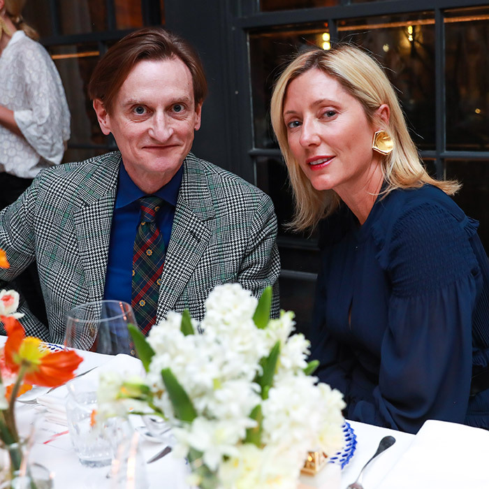 Crown Princess Marie Chantal of Greece had a chat with Vogue's International Editor-at-large Hamish Bowles at designer Tory Burch's very fashionable Just Like Heaven Launch Dinner at Le Coucou in N.Y.C.
